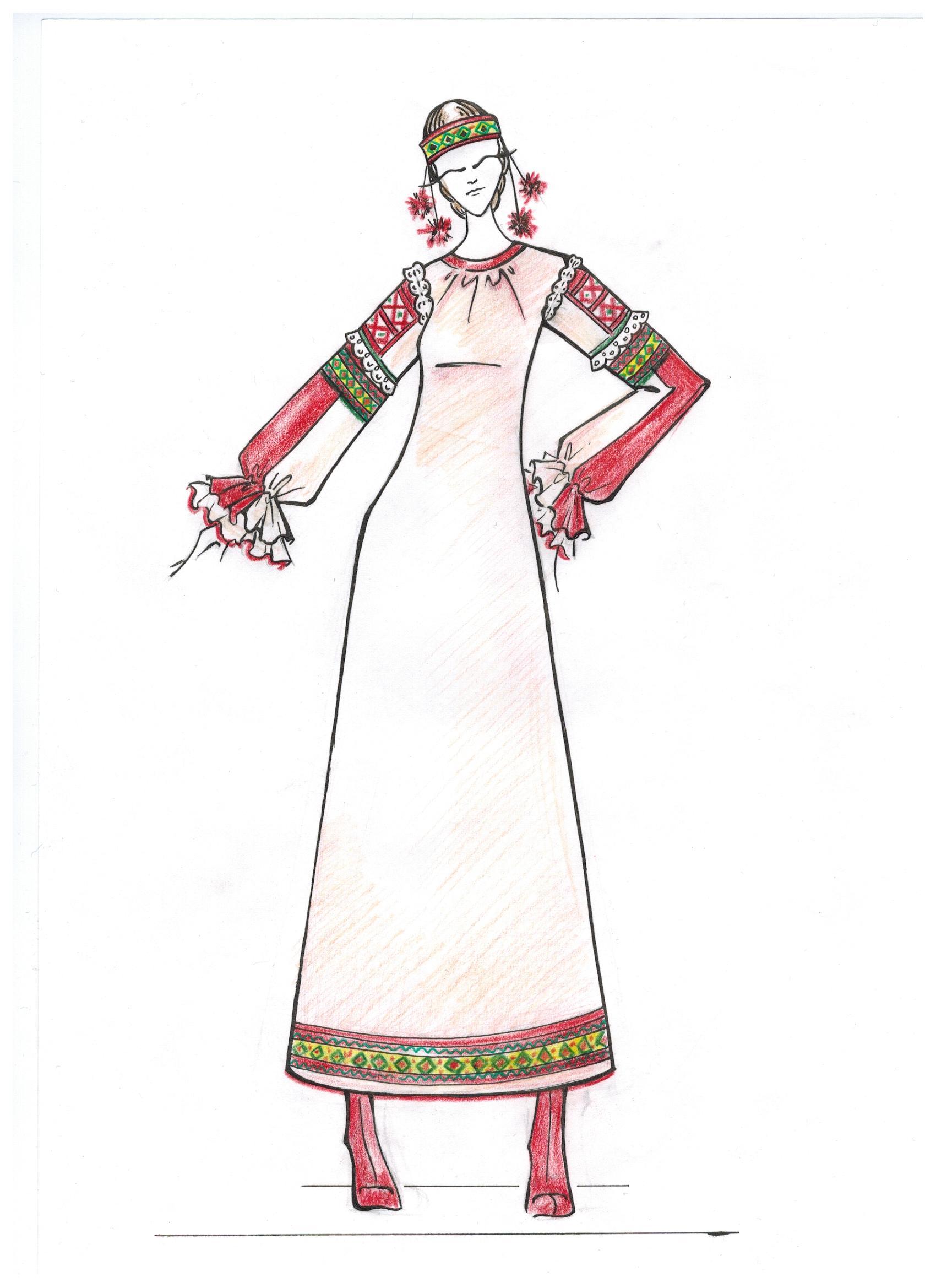 Женские Русские Народные Костюмы Рисунки Доставка